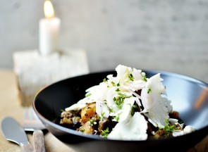 Beer braised venison with pickled cauliflower